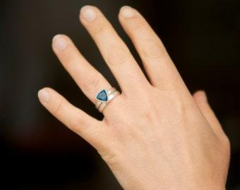 London Blue Topaz Wedding Set - Blue Topaz Trillion Engagement Ring and Wedding Band - Blue Gemstone Engagement Ring - Made to Order