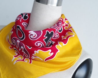 SALE item - Neckerchief or small square scarf. Hand painted in fiery colors - yellow red. Boho accessories tribal art summer scarves. Fire