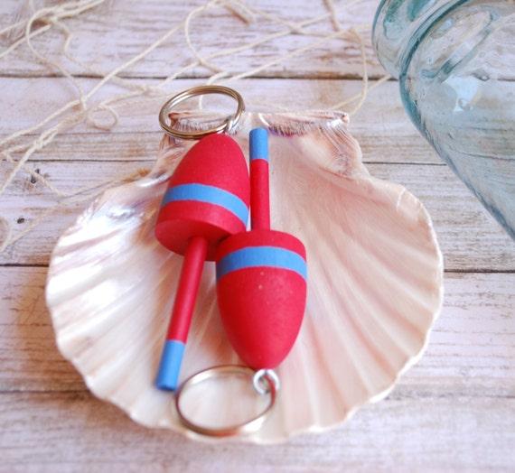 Nautical Decor  - Lobster Buoy Keychain - Red and Blue Wedding Favor, Miniature Lobster Buoy Wedding Favo