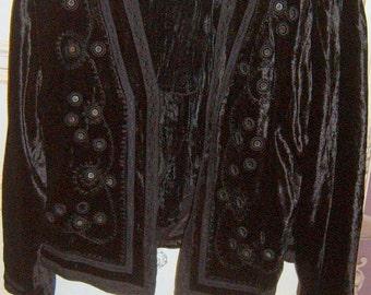 Vintage, Velvet Jacket and Skirt.  Velour Suit, Tiered Skirt, Black Velvet, Size 12-14, Holiday Wear,