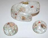 Lucite Seashell Confetti Clamper Bracelet and Earrings Set