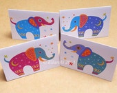 Four Elephants folded gift tags pack of 4 peel-off tags
