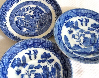 """Blue Willow Mismatched set of 3 Vintage 6"""" Saucers Occupied Japan Royal Winton  VintageShabbyToChic"""