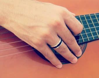 Mens Ring Wood, Mens Rings Silver, Ebony Wood Ring, Wood Ring, Ebony Ring , Mens Wedding Band Ring, Ebony Band Mens Ring, Silver Rings