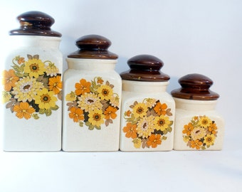 Set Ceramic Canister Kitchen Canisters 4 White Storage Lids Coffee Sugar Painted Hand Vintage Flour Jars