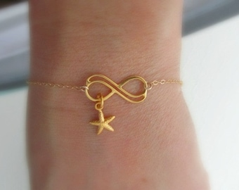 Gold starfish infinity bracelet, 24K gold over sterling silver, infinity jewelry, beach infinity bracelet, bridesmaids bridal favor wedding