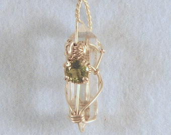 Peridot on Clear Polished Quartz Crystal in Argentium Sterling Silver Wire Wrapped Pendant Number 4 of 500