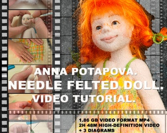 Needle felted doll. The disc with the video. Art doll tutorial