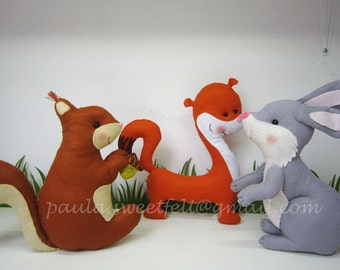 Set of 3 woodland animals for decoration / woodland animals / nursery decor / party decor / squirrel /weasel / racoon / hedgehog /  boar /
