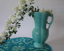 Vintage Turquoise USA Pottery Pitcher or Vase