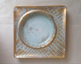 Vintage Stangl Pottery Gold and Turquoise Big Square Ashtray