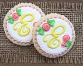 Bridal Shower Favors / Baby Shower Favors / Gifts for a New Mom / Gifts for Mom / Mothers Day Gifts / Monogrammed Sugar Cookies - 12 cookies