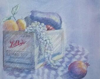 Still Life Drawing-Fruit Art-Watercolor