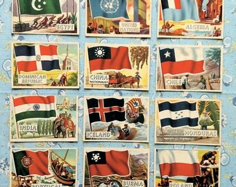 12 Topps Flags of the World 1956 Trading Cards