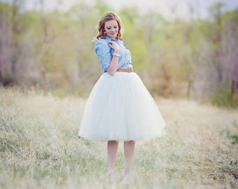 Ivory, off white  tulle skirt, tutu skirt,made to your size