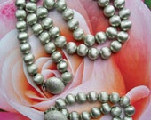 Brushed Silver NECKLACE & BRACELET SET by Monet Elegant Heavy Beads on Chain Vintage Jewelry Demi Parure