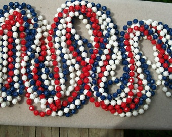 Vintage Americana NECKLACE and CLIP EARRINGS Red White Blue Patriotic Multi Strand Dangle Lewis Segal