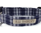 Dog collar in Navy and White Seersucker Plaid for Small to Large Dogs