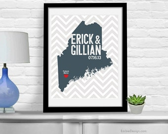 Maine Wedding Gift - Personalized Maine State and Heart - Custom Wedding Date - Location City and State Modern Art Print - 8x10