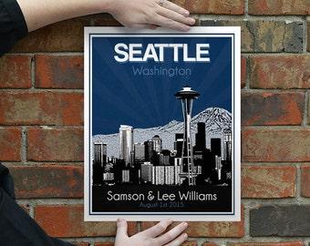 Seattle Skyline Wedding Gift - Personalized - Anniversary - Custom Date  Location City and State Modern Art Print Washington Seahawks