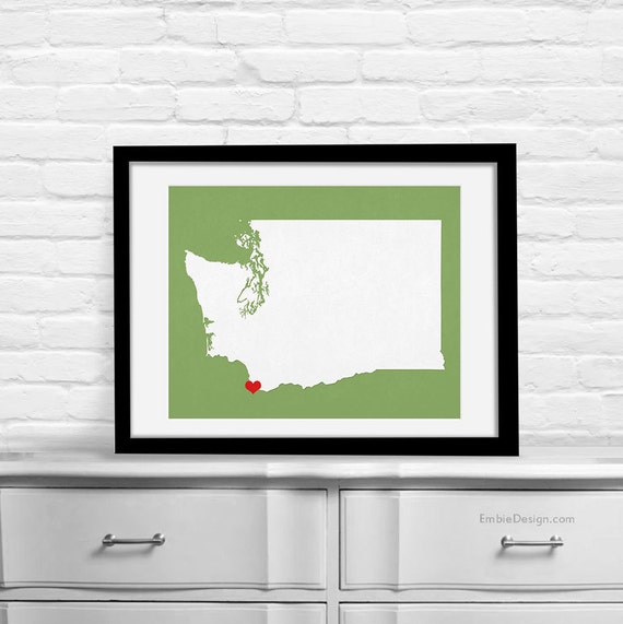 Washington Wedding Gift - Personalized State and Heart - Custom Wedding Date - Location City and State Modern Art Print - 8x10 Seattle