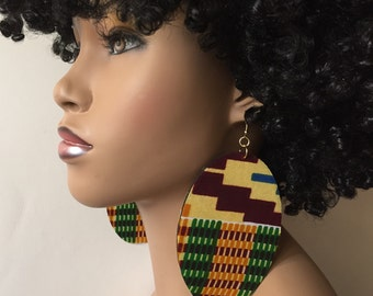 Large Fabric Covered Earrings- Kente