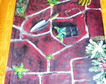 A ST0P AL0NG A GARDEN PATH. Floor Cloth/Wall Hanging, Acrylic, on Canvas signed Original Art, By. Rusyniak