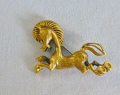 Horse Jewelry  Pin Brooch Brass Gold Tone Pony Equestrian Vintage