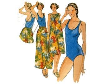 Vintage bathing suit pattern, one piece racerback swimsuit, maillot, size 12 bust 34, Butterick 5483, coverup skirt, pool wear, beach dress