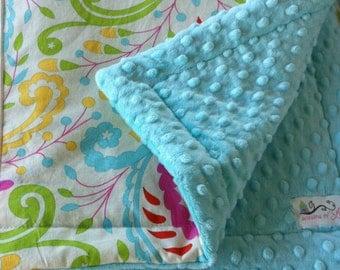 "Crib Minky Comforter - Girls Blanket - Kumari Garden Fabrics - Girls Bedding- Approximately 40"" x 34"""" - Choose Your Own Fabrics"