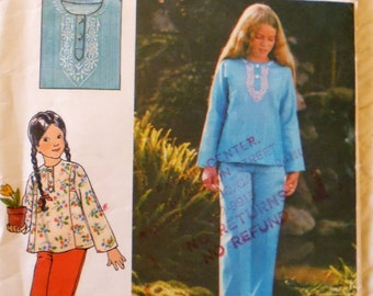 Butterick 4190 girls' top, pants pattern, breast 26 pattern, hip 27 pants, Henley pullover, pullover top, pull on pants