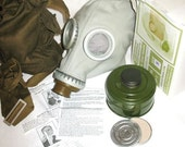 Vintage Army Surplus Russian WW2 GP5 Red Army Gas Mask 40mm Filter Haversack Bag Vintage Militaria Gothic SMALL
