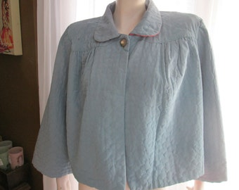 1940's Ladies Quilted Baby Blue Satin-like JACKET by DELA Ann