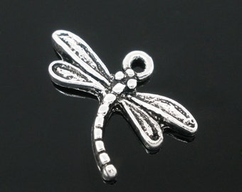 10 Dragonfly Charms - Antique Silver- 15x17mm - Ships IMMEDIATELY from California - SC1144