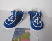 Nautica Baby Shower Anchor Shoes Crochet Nautical Baby Shoes Nautical Baby Shower Boys Sandals Nautica Shoes Navy Shoes Anchor baby booties