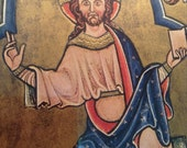 Vintage religious museum print of antique 13th century French illumination - Christ in Majesty