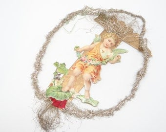 Early 1900's Victorian Angel Embossed Die Cut and Tinsel Christmas Scrap Ornament, Antique Vase