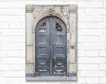 Paris Photography on Canvas - Worn Grey Door, Gallery Wrapped Canvas,Large Wall Art, Architectural Urban Home Decor