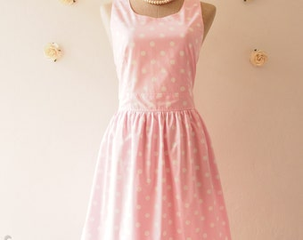 SALE ---  Pale Baby Pink Summer Dress Cute Sun Dress Polka Dot Retro Dress Vintage Inspired Dress Dancing Tea Party Dress -Size M