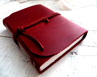 Red leather journal. Leather sketchbook. Leather travel Journal