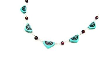 Turquoise Czech Glass Necklace Triangles Red Garnets Sterling Silver Whimsical Jewelry Banner Necklace Geometric Jewelry Pennant Necklace
