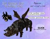 Flying Pig Metal Art, Steel Flying Pig Art, Garden Art Pig by Brown-Donkey Designs
