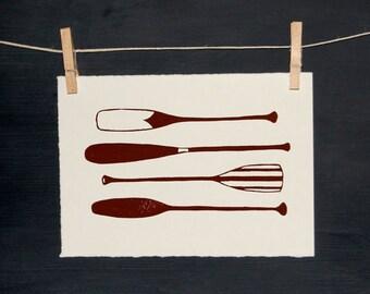 Canoe - Paddle Oar Row - Hand Printed Art