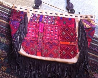 "Handmade Vintage Textile/Suede Fringe Banjara Bag  ""Price Reduced"""