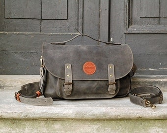 leather messenger backpack office bag Ladybuq gray