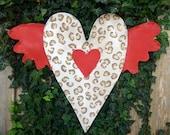 Valentines Door Hanger, Leopard Print Heart with Wings Screen Door Hanger Screen Door Decor