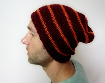 Grunge Beanie Summer Beanies Men Knitted Hats Striped Burgundy Orange Hand Knit Cap Oversized Grungy Hat Handmade Accessories Autumn