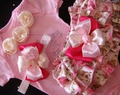 Newborn Take Home Outfit, Baby Girl floral bloomers, Complete baby girl clothing Set Victorian Vintage Pink, Ivory, Baby Girl Shower Gift