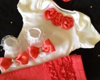 NEWBORN baby girl take home outfit coral rosettes matching pants matching coral headband and socks with bows