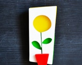 Sunflower brooch - Sunny summer time brooch, hand made from perspex